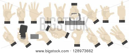 Hands gesturing set on white background. Shaka, holding a phone, card, handshaking, peace and victory pointing, rock, vulcan salute gesturing. Counting.