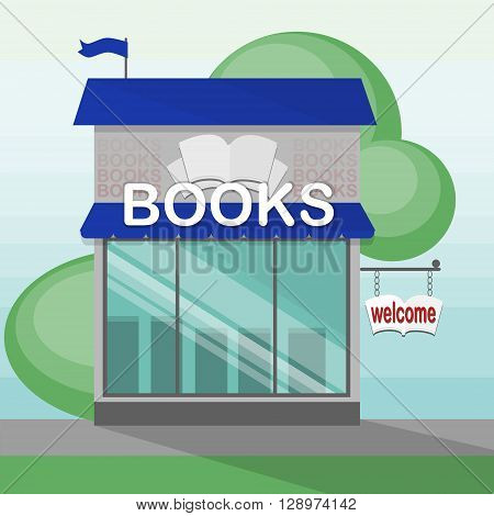 Books shop building. Bookstore storefront. Urban architecture. Modern street facade. Literature and education. Welcome sign.