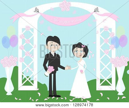 Wedding couple standing in white beautiful archway. Birds holding banner. Happy young family. Honeymoon. Balloons and bowls.
