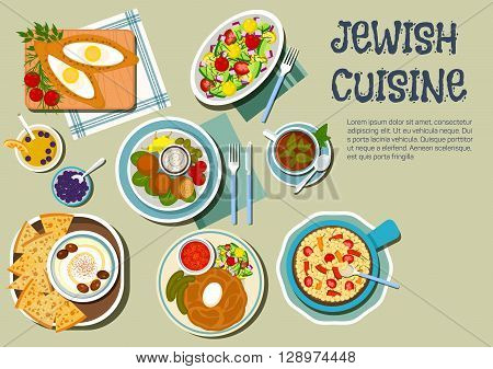 Shabbat day dishes of jewish cuisine icon with flat symbols of cholent stew, served with pickles and tomato sauce, hummus with olives and matzah, falafels with garlic sauce and vegetables, chickpea warm salad, egg filled pies and vegetable salad, juice an