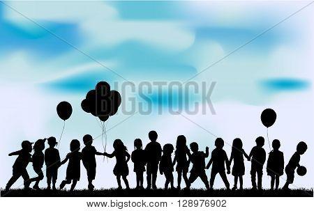 Children silhouette in nature .  Vector conceptual illustration.