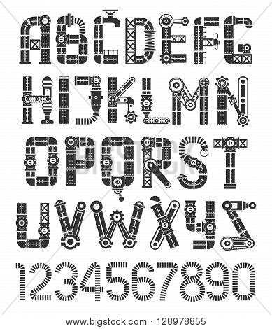 Steampunk black font. Original vintage industrial alphabet.