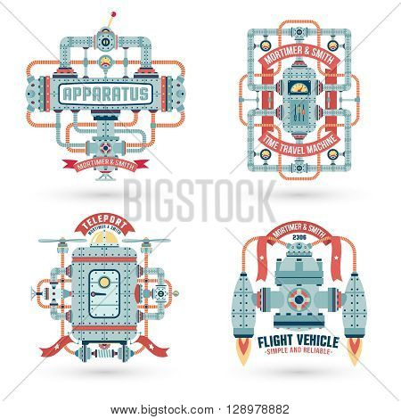 Steampunk logo. Steampunk machinery machines assemblies. Intricate engineering devices. Text on a separate layer.