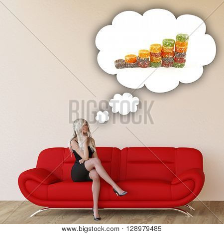 Woman Craving Candy and Thinking About Eating Food 3D Illustration Render