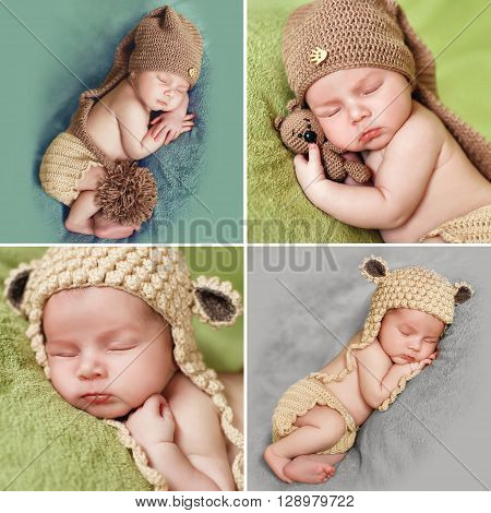 A collage of photos of a sleeping baby in knitted cap,Collage made of four pictures of the baby in a brown knitted cap of a peacefully sleeping on the soft green blanket,putting the pen under his cheek with a brown toy bear