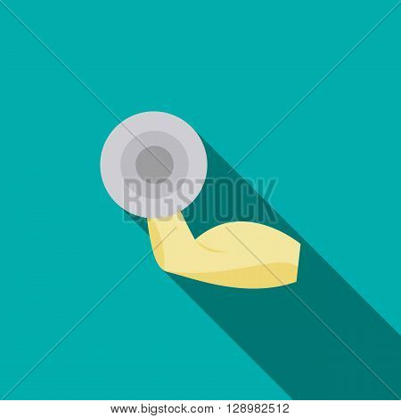 Brawny arm with dumbbell icon in flat style on a blue background
