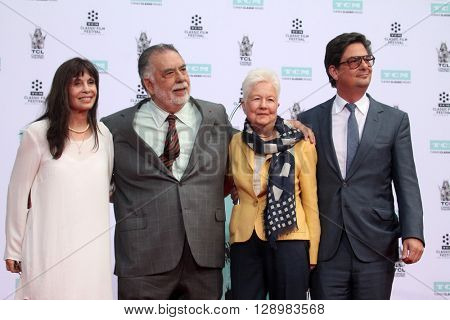 LOS ANGELES - APR 29:  Talia Shire, Francis Ford Coppola, Eleanor Coppola, Roman Coppola at the F F Coppola Hand and Foot Print Ceremony at the Chinese Theater on April 29, 2016 in Los Angeles, CA
