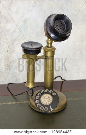 Antique vintage telephone. Rotary phone, old, retro