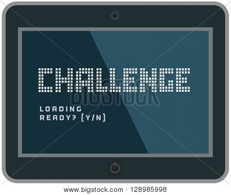 Challenge Concept.Motivation Quote Challenge on computer display. Business challenge Concept. Banner with quotation web design. Vector illustration.