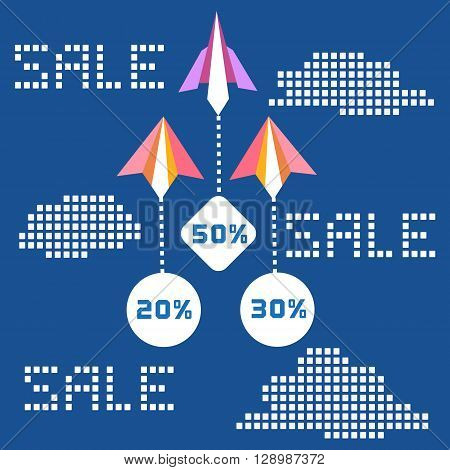 Paper planes. Travel sales advertisement. Origami flying paper airplanes. Travelling sale poster discount promotion banner. Special offer for big sales season. Marketing campaign. Vector illustration