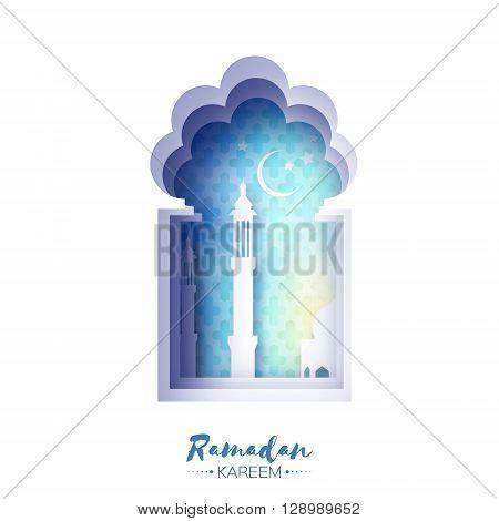 Blue Origami Mosque Window Ramadan Kareem Greeting card with arabic arabesque pattern. Holy month of muslim. Symbol of Islam. Crescent Moon Ramadan. Applique Vector illustration.