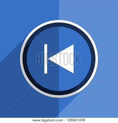 flat design blue prev web modern icon