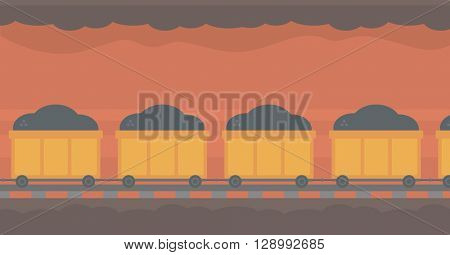 Background of underground tunnel with mining cart.