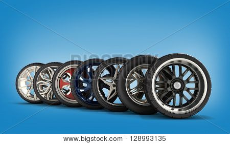 Wheels With Tires Car Standing In A Row 3D Illustrations