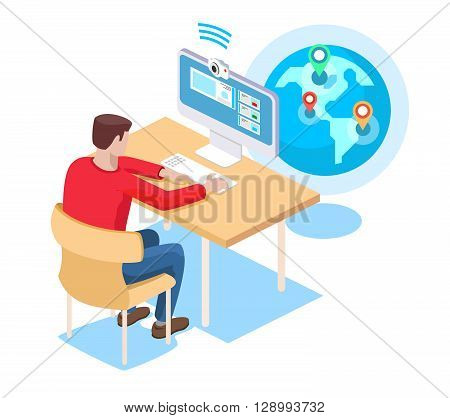 Video chat. Internet chating, correspondence with smartphone, multimedia conference, flat vector illustration