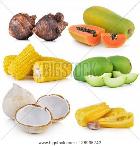 boil coconut green mango corn jack fruit taro roots papaya on white background