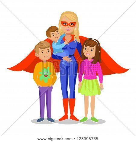 Cartoon superhero woman in red cape female superhero mother superhero with children's. Vector illustration