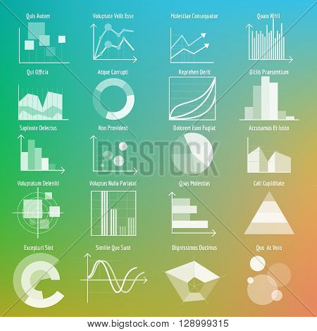 Vector graphs and charts. Transparent business graphs and charts. Vector illustration