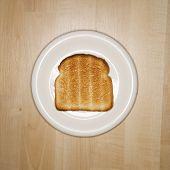 One slice of toast on plate.