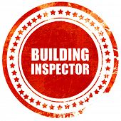 building inspector, red grunge stamp on solid background poster