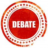 debate, red grunge stamp on solid background poster