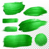 Vector green watercolor glitter brush stroke and blobs set. Abstract polish splash trace. Green oil paint smear dab line on transparent background poster