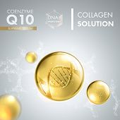 Coenzyme Q10. Supreme collagen oil drop essence with DNA helix. Premium shining serum droplet. Vector illustration. poster