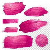 Vector pink watercolor brush stroke set. Abstract polish splash trace shape. Red purple oil paint smear line on transparent background poster