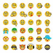 Smiley face flat vector icons set. Emoji emoticons. Different facial emotions and expression symbols. Cute cartoon illustrations of mood and reactions for text chat and web messenger. Ball character poster