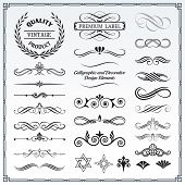 Collection of calligraphic and decorative design patterns embellishments in vector format. poster