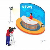 Breaking news reportage and press conference. Journalist interview an analyst. Flat 3d vector isometric illustration poster