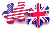 usa and uk jigsaw puzzle piece flag poster