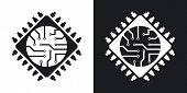 Microchip icon vector. Two-tone version on black and white background poster