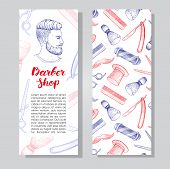 Vector vintage hand drawn Barber Shop business flyer. Detailed illustrations. Hipster man with beard mustage scissors ribbon whisker and lettering styled text. poster