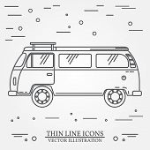 Travel bus family camper thin line. Traveler truck tourist bus outline icon. RV travel bus grey and white vector pictogram isolated on white. Summer bus family travel concept. Vector illustration. poster