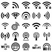 Set of twenty five different black vector wireless and wifi icons for remote access and communication via radio waves poster