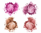 Set of four blushes and face correctors isolated on white. Crushed blushes set in trendy bright colors. Blush and correction powder isolated. Pink purple and brown face correctors concept. poster