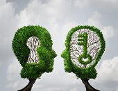 Key hole Solution partnership and key opportunity business concept as two trees shaped as a human head with a key and keyhole shapes as a collaboration success metaphor in a 3D illustration style. poster