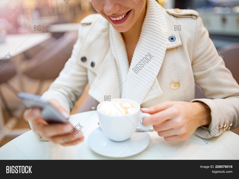 Woman drinking coffee PowerPoint Template - Woman drinking coffee ...
