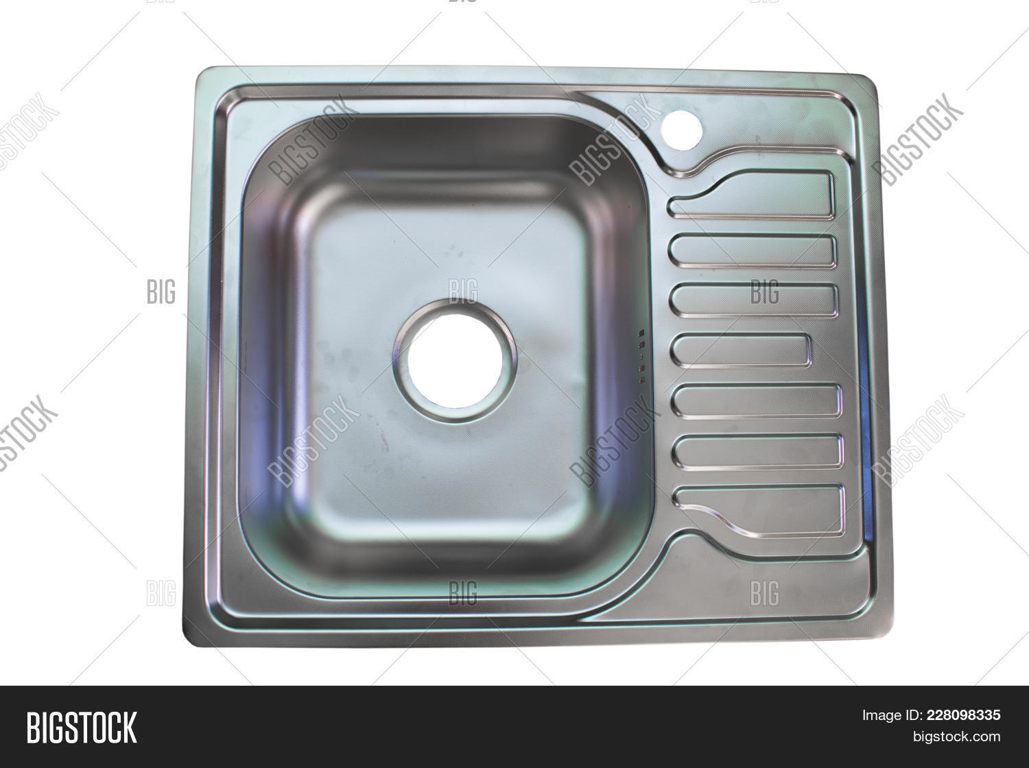Top View Of A Kitchen Sink On White Background