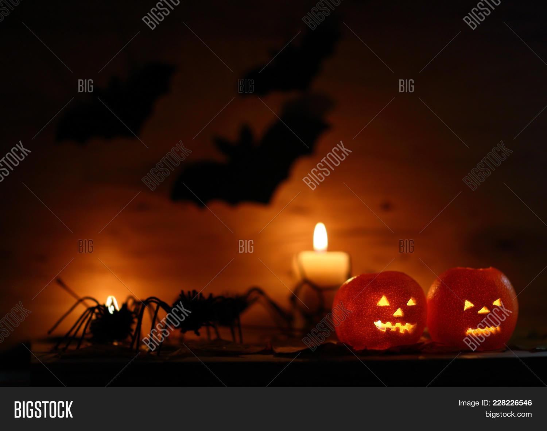 Orange halloween halloween pumpkin with scary PowerPoint Template ...