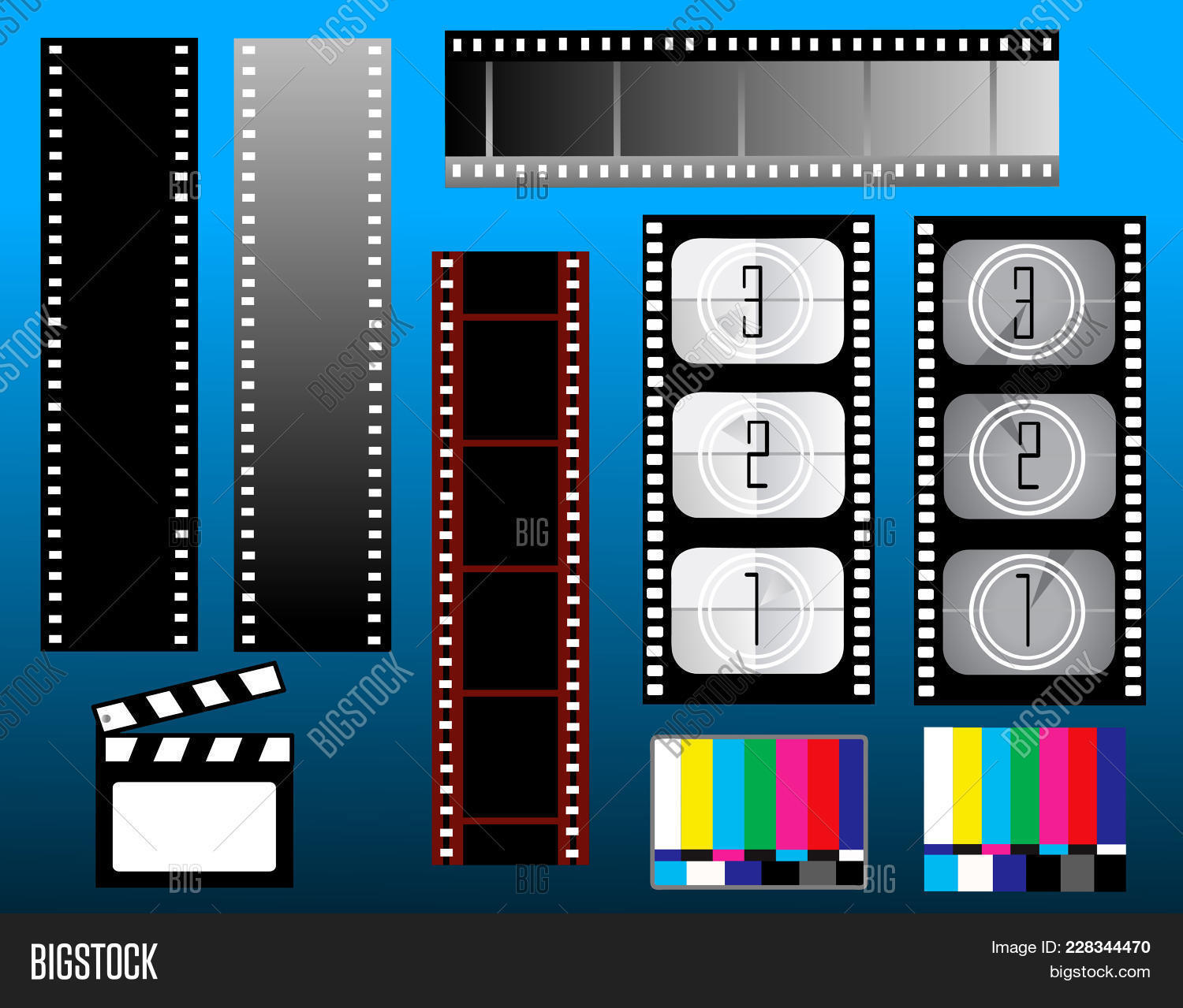 Board movie clapper filmstrip PowerPoint Template - Board movie ...