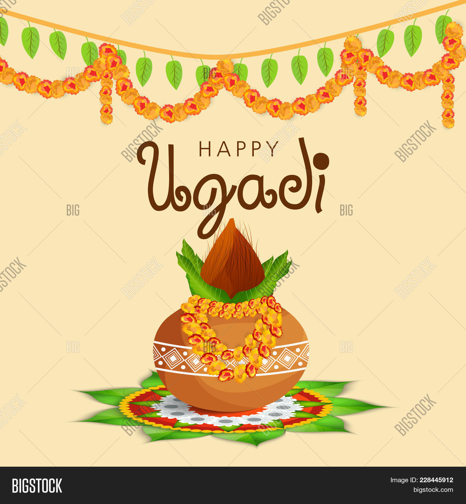 Illustration Happy Ugadi Greeting Image Photo Bigstock