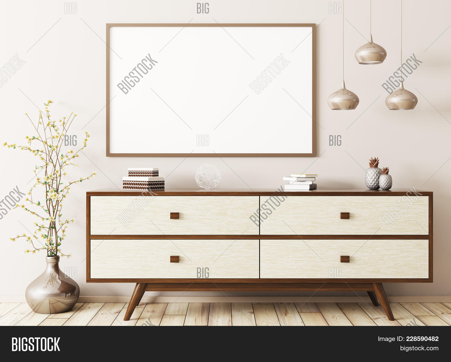 Modern interior with empty poster stock illustration