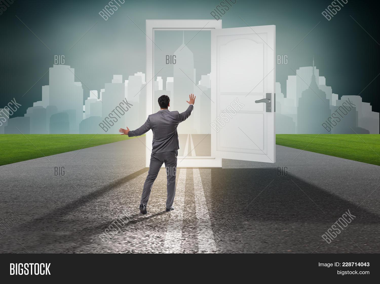 Unemployment businessman in front of door powerpoint template your text toneelgroepblik Image collections