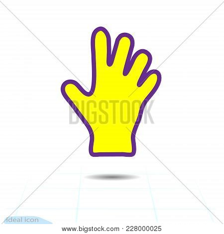 Yellow Glove Or Hand Icon. Dish Wash Gloves. Yellow Glove For Cleaning. Human Hand Purple Yellow Sil