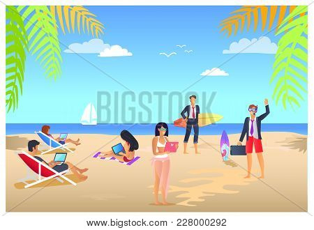 Business Summer Tropical Vacations, Poster With People And Laptops, Man With Suitcase And Surfboard,