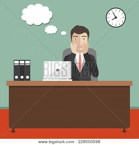 Businessman Concerned In Office. Speech Bubble For Text. Flat Vector Illustration.