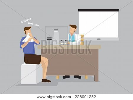 Sneezing Patient In Doctor Office For Treatment Consultation Cartoon Vector Illustration