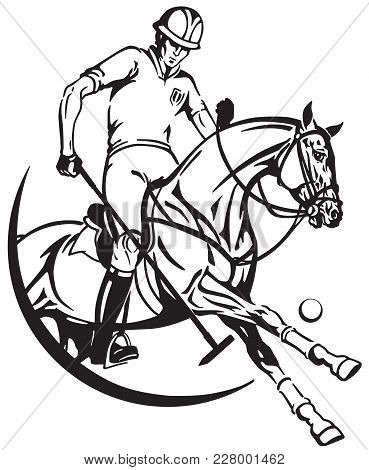 Polo Player Sitting On A Pony Horseback And Holding A Long Handled Wooden Mallet To Hit A Ball . The